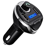 ORIA FM Transmitter Wireless Radio Adapter Car Kit, Audio Receiver with USB Charger & Hands Free Calling for Smartphones, Tablets, TF Card