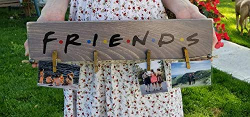 Rustic FRIENDS Picture Photo Display Hanger TV Show Wood Sign Best Fans Wall Gift