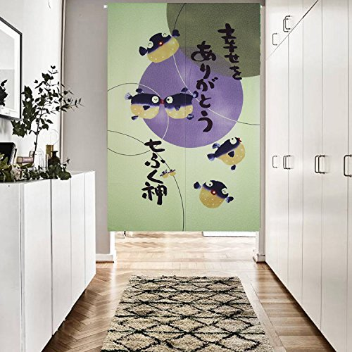 Japanese Noren Curtains Cute Blowfish Pattern Dimpled Design Fabric Door and Window Tapestry (Green) by LifEast