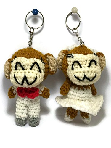 2 pc Cute Monkey Yarn Doll handmade Keyring Voodoo Doll Wedding couple Keychain Craft valentine Gift