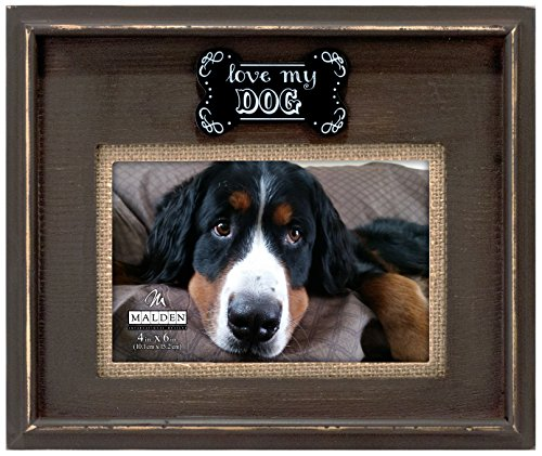 Malden International Designs Sentiments Love My Dog Dark Walnut Distressed Burlap Mat Plaque Attachment Wood Frame, 4x6, Brown