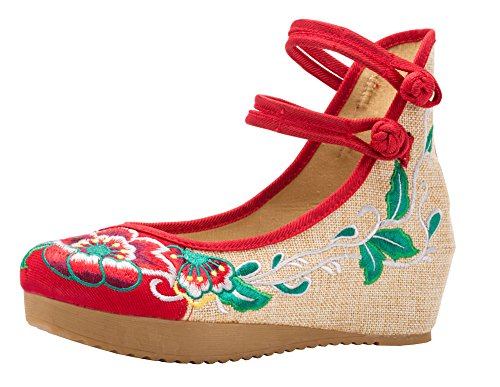 Red Round Platform Strappy AvaCostume Floral Wedges Toe Embroidery Womens P7Cw8nqwS