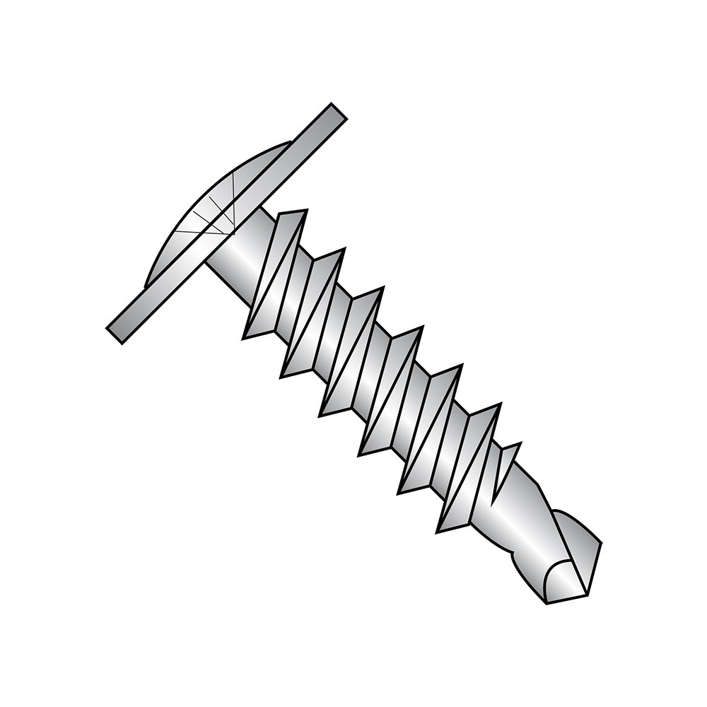 18-8 Stainless Steel Self-Drilling Screw, Plain Finish, Modified Truss Head, Phillips Drive, #2 Drill Point, #10-16 Thread Size, 1/2'' Length (Pack of 25)