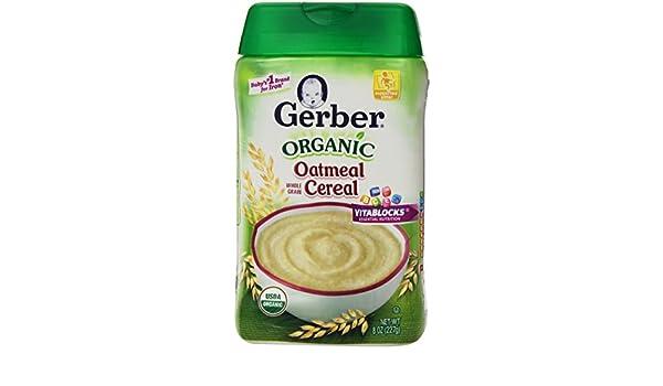 Cereal de avena orgánica, grano entero, a 8 oz (227 g) - Gerber: Amazon.es: Alimentación y bebidas