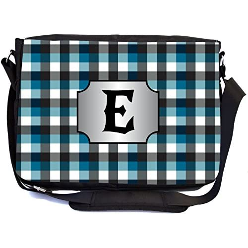 "Rikki Knight Letter ""E"" Initial Blue Black Grey Plaid Monogrammed Design Messenger School Bag (mbcp-cond45983)"