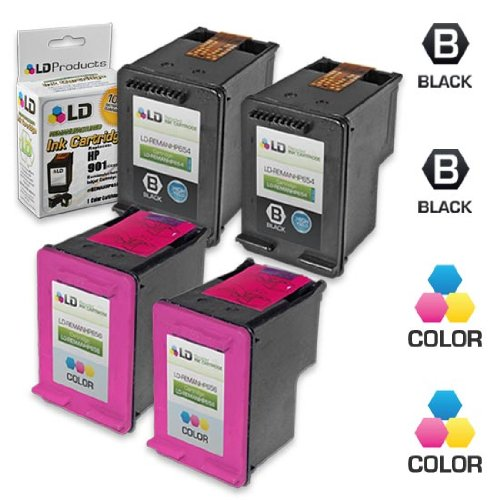 LD Remanufactured Ink Cartridge Replacements for (HP) CC654AN 901XL & CC656AN 901 (2 Blk & 2 Clr) for OfficeJet J4540, J4580, J4660, G510a, J4680c, G510n, J4524, J4550, 4500, J4624, J4680, G510g