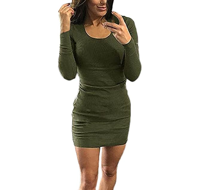 41ce05579a79 Vestiti Donna Corto Elegante Vestito Primavera Manica Lunga Girocollo Abito  Mini Solido Slim Fit Moda Abiti Tubino Casual Dresses for Women  Amazon.it   ...