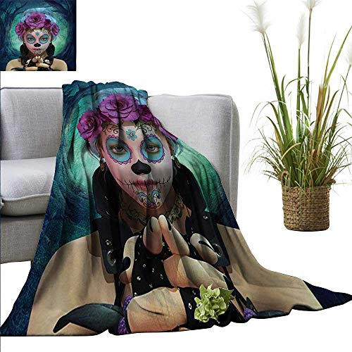 AndyTours Blanket,Horror,Scary Clown Like Girls Showing her Hands with Gloves an Flowers in Her Head Print,Multicolor,Flannel Super Soft Warm Thick Blanket for Home 60