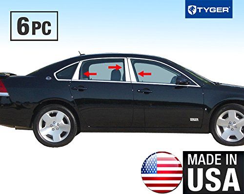 Made in USA! Fit 06-13 Chevy Impala 6PC Stainless Steel Chrome Pillar Post Trim (Side Pillar Chevy)