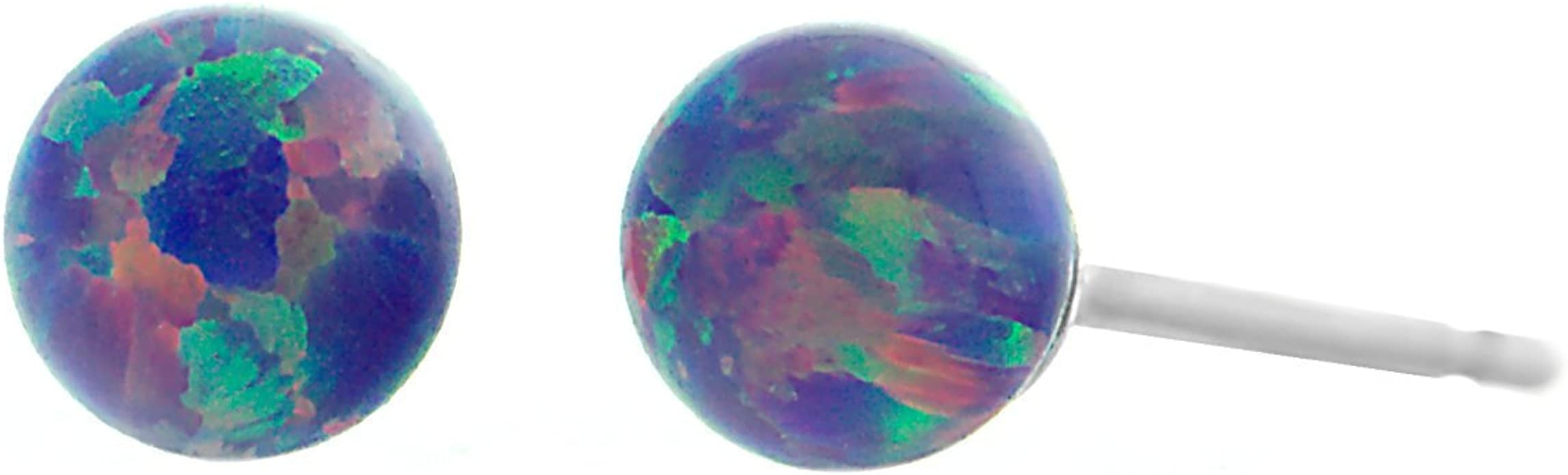 Trustmark 14-20 Gold Filled Cornflower Blue Synthetic Opal Ball Stud Post Earrings