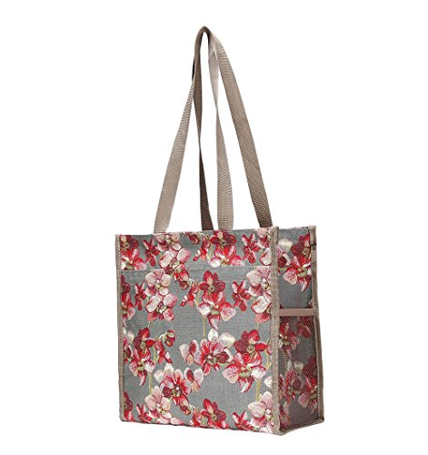 bolso Bolso moda tapiz Orquídea hombro de Floral mujer para Signare de Shopper rw0fAFqr
