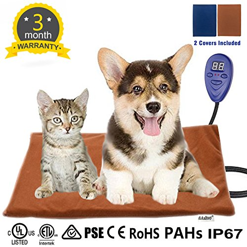 Asltoy Pet Heating Pad,Dog Cat Electric Warming Mat Heat Pad Pet Mat Warming Pad Waterproof Adjustable Chew Resistant Cord Warming Bed with 2 Replace Soft Removable 15.7''x11.8'' (40×30cm) by Asltoy