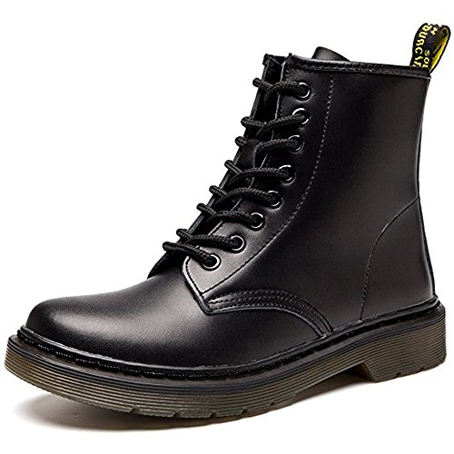 Resonda Women Fashion Leather Ankle Bootie Casual lace up Short Combat Boots for Winter,Black,us (Women Black Boots)