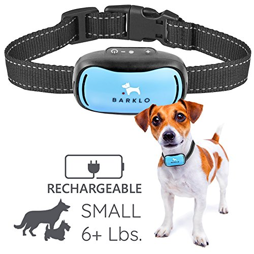 Small Dog Bark Collar For Tiny To Medium Dogs by BARKLO Rechargeable And Waterproof Vibrating Anti Bark Training Device - Smallest & Most Safe On Amazon - No Shock No Spiky Prongs! ( 6+ lbs ) (Blue)