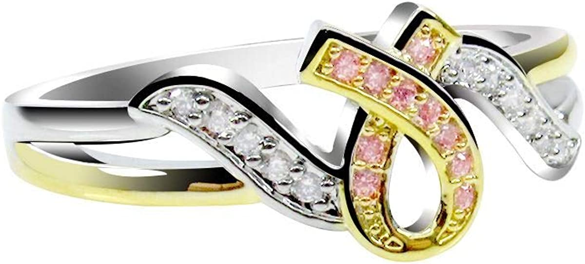 Daobg-stable Women's Pink Ribbon Hope Two-Tone Rings Breast Cancer Awareness Jewelry