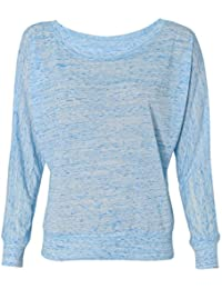 Crystal Sheer Jersey Boatneck Pullover Long Sleeve Dolman Top