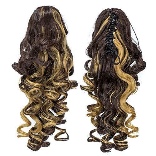SWACC 12-Inch Short Screw Curls Claw Clip Ponytail Extensions Synthetic Clip in Drawstring Curly Ponytail Hairpiece Jaw Clip Hair Extension (Dark Brown Strawberry Blonde Highlights-4H27) (Natural Red Hair With Strawberry Blonde Highlights)