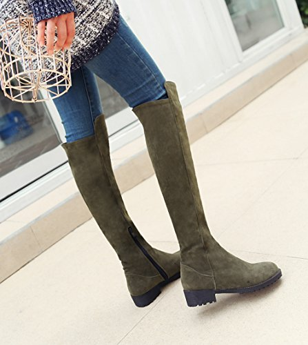 Aisun Damen Runde Zehen Plateau Blockabsatz Martin Boots Sexy Overknee Langschaft Stiefel Grün