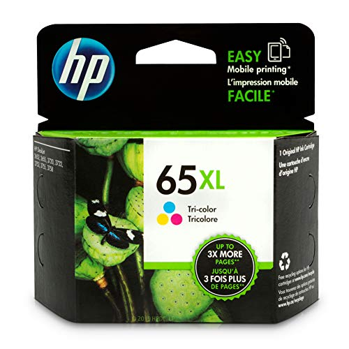 (HP 65XL Tri-color Ink Cartridge (N9K03AN) for HP DeskJet 2624 2652 2655 3722 3752 3755 3758)