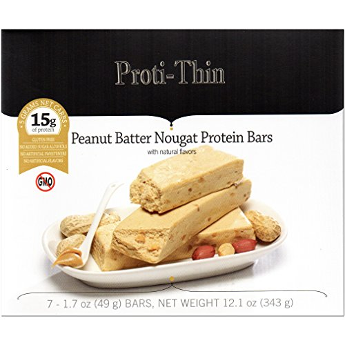 Proti-Thin - Peanut Batter Nougat Protein Bar - All Natural - Very Low Carb - Gluten Free - No GMOs - 7 Bars