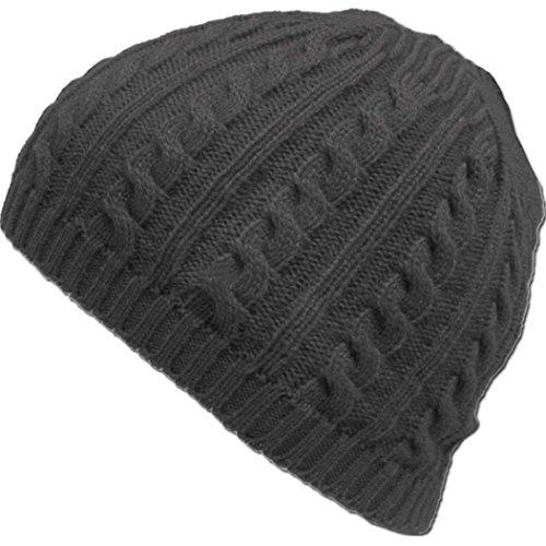 VIASA Cable Knit Winter Warm Crochet Hat,VIASA Unisex Braided Baggy Beret Cuffless Beanie Cap (Dark Gray)