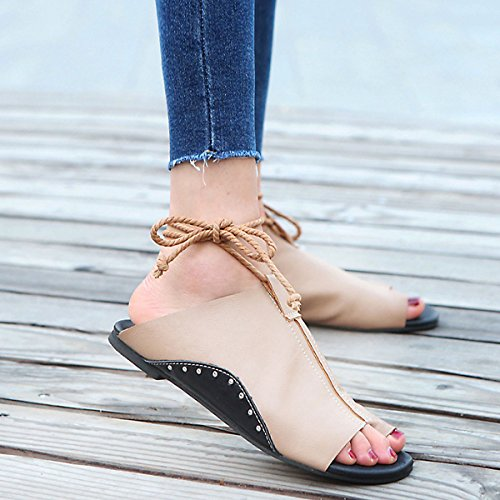 CHNHIRA Fashion Summer Women's Flat Female Slippers Strap Sandals Coffee tX8Tbmi4