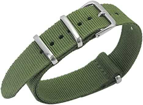 Army Green Nylon Outdoor Sport Wristwatch Band Replacement Strap 20mm