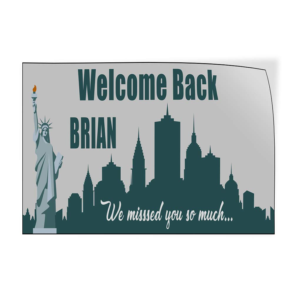 Custom Door Decals Vinyl Stickers Multiple Sizes Welcome Back Boy Name Statue of Liberty Lifestyle Welcome Back Outdoor Luggage /& Bumper Stickers for Cars Green 52X34Inches Set of 5