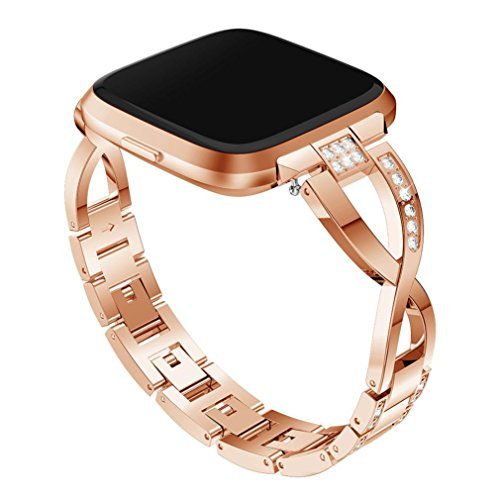 Easytoy Bling Bands for Fitbit Versa, Metal Stainless Steel Bracelet Rinestone Replacement Band Wristband Accessories Strap for Women (Rose Gold) by Easytoy