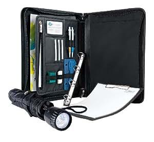 Wedo - Juego de paraguas con linterna LED en el mango y organizador (archivador de 4 anillas, tamaño A4, soporte para documentos, tarjetero, cierre con cremallera), color negro