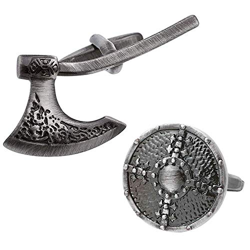 Antique Finish Viking Battle Axe & Shield Cufflinks ()