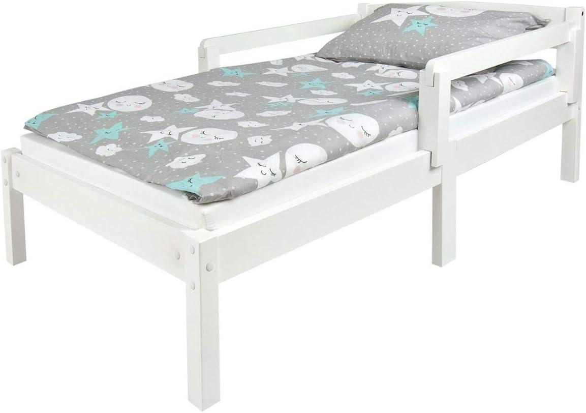 Leomark Individual Cama Infantil de Madera - Classic White - con colchón, somier, barra de seguridad, para niños, color blanco, moderno y elegante ...