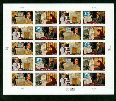 (Ben Franklin Sheet 20 Mint US Postage 39c Stamps 4021-24)