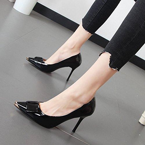 Xue Qiqi Simple zapatos bien con la luz de zapatos de mujer punta de metal decoración Pajarita alta Heel Shoes Negro