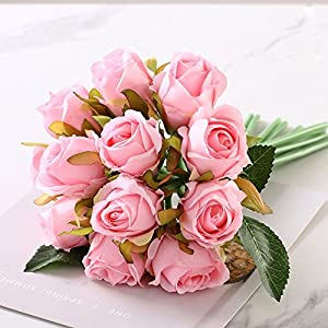 12PCS/Lots Artificial Rose Flowers Wedding Bouquet Royal Rose Silk Flowers For Home Decoration Wedding Party Decor 6