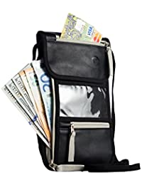 Passport Holder by Organizer Solution, Travel Wallet with Rfid, Neck Pouch (Black Leather)