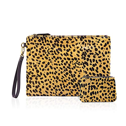 Leopard Clutch with Coin leopard Purse for women wristlet Wallet Genuine Leather Haircalf Ladies Evening Envelope bag (Leopard-A)
