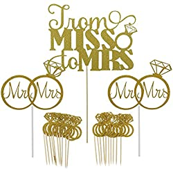 Shxstore Gold Mr Mrs Cake Topper Diamond Ring Cupcake Picks For Wedding Bridal Shower Engagement Decorations Supplies, 23 Counts