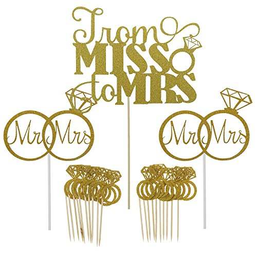 Shxstore Gold Mr Mrs Cake Topper Diamond Ring Cupcake Picks For Wedding Bridal Shower Engagement Decorations Supplies, 23 (Bridal Shower Cupcake Cake)