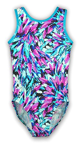 Pelle Gymnastics Leotard - Feathers/Aqua (Other Prints Available) - CL