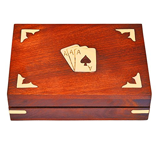 Deck Box Set - Unique Birthday Gift Ideas Handcrafted Classic Wooden Playing Card Holder Deck Box Storage Case Organizer With 2 Sets of Premium Quality 'Ace' Playing Cards Anniversary Housewarming Gifts Him Her