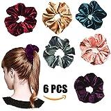 6 Pieces Hair Scrunchies Velvet Elastics Scrunchy Bobbles Soft Hair Bands Hair Ties
