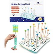 New Mom Gift Kit by Trendzy Dezigns- Antibacterial Bottle Drying Rack With Bonus Silicone Scrubber Brush for Cleaning 2 Pc Newborn Baby Shower Set for Moms and Dads