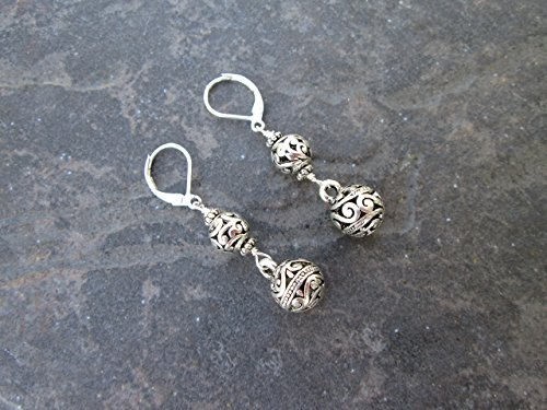 Leverback Dangle Filigree Earrings - Silver filigree ball dangle earrings with Sterling Silver Leverbacks