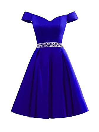 Review Changuan Women's Short Beaded Prom Dresses Off The Shoulder Backless Homecoming Dress