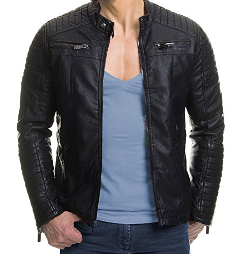 Coofandy Men's Classic Leather Motorcycle Jacket Winter Biker Jacket Black,Medium