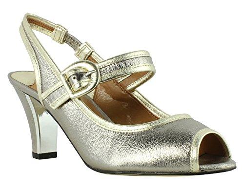 J. Renee Women's Nevern Peep Toe Slingback,Taupe/Gold Metallic Nappa Leather,US