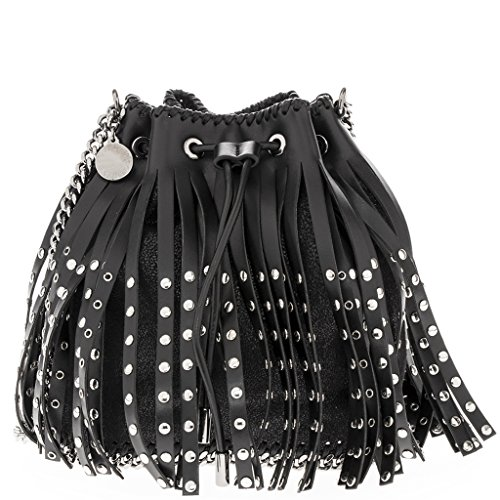 Stella-McCartney-Womens-Mini-Fringed-Bucket-Bag-with-Grommets-Black