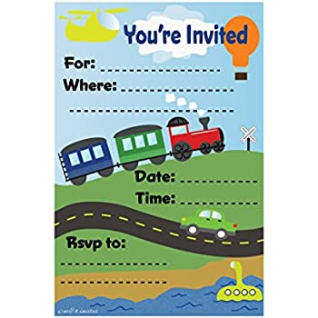 Amazon transportation train themed birthday party invitations transportation train themed birthday party invitations fill in style 20 count with envelopes filmwisefo