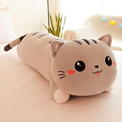 seemehappy Cute Cartoon Cat Soft Plush Long Throw Pillow Lifelike Animal Pillows Plush Toy Birthday Gift (43 inch,Grey): Toys & Games